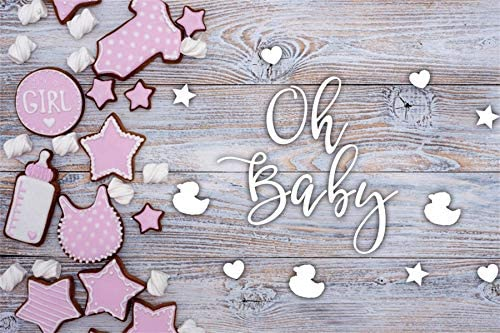 DORCEV 10x6.5ft Rustic Wood Baby Shower Backdrop Oh Baby Retro Texture Wooden Floor Photography Background Princess Girls Baby Shower Party Portraits Photo Studio Props