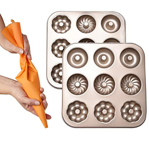Bitimexhome Baking Molds Donut Pan Set - Include 9-Hole Steel Donut Pans (2 Pack) And Reusable Pastry Bag - Nonstick Bagel Pans BPA Free Baking Gifts