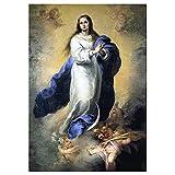 Legendarte - Cuadro Lienzo, Impresión Digital - La Inmaculada Concepción El Escorial - Bartolomé Esteban Murillo - Decoración Pared cm. 50x70