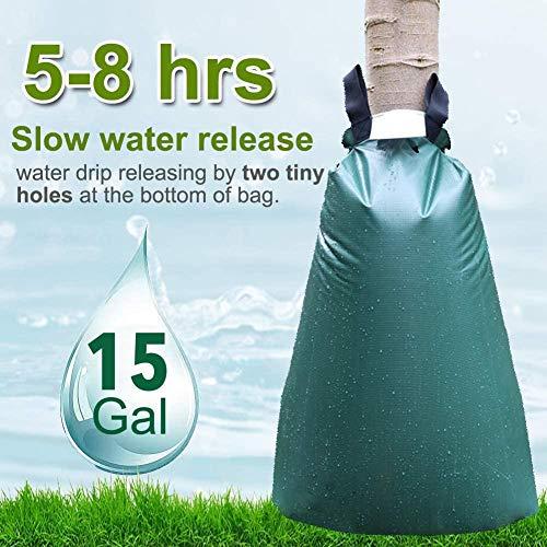 Further Bewässerungsbeutel für Bäume, 15 Luftballons, 56 l, langsame Bewässerung, automatisches Abtropfsystem aus PVC, ideal zum Bepflanzen von Bäumen und Arbusten, Grün