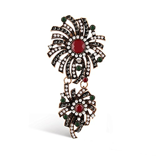 Emma Gioielli - Broche Para Mujer Colgante Antiguo Retrò Vintage Flor Flores Chapado en Oro Rosado Antiguo con Cristales Swarovski Elements de Color Blanco Fumè Rojo Verde - Paquete Regalo
