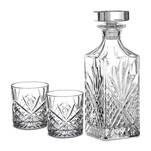 Amisglass Whiskey Karaffe mit 2 Gläsern, Whiskey Set, 3-teilig, Whisky Dekanter 900ml und Whisky Gläser 300ml 2 Stück, Kristallgläser & Longdrinkgläser