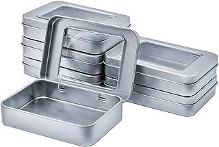 WestKaiba 6 個セットブリキ缶 ミニボックス メタル収納ケース 付き蓋 シルバー 透視 長方形 コンテナ 小物収納 雑貨入れ