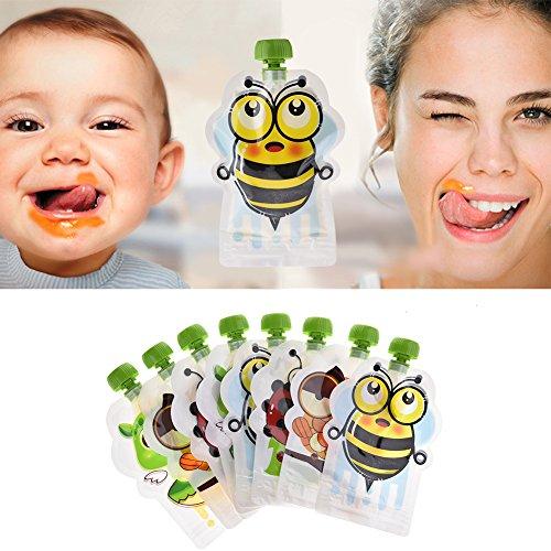 N/Z - Bolsa de compresión reutilizable para bebé, 8 unidades, antigoteo, sin BPA, fácil de rellenar, para bebés, niños, desodorantes, batidos, frutas, baby papilla, yogur (175 ml)