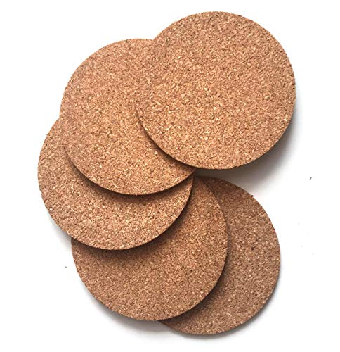 TFIRC Juego de 5 Posavasos de Corcho Finos y Naturales para Vasos y Tazas de 9 cm de diámetro.