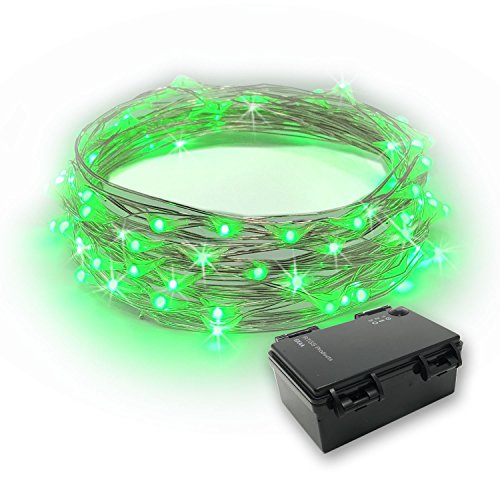 of battery electric strings RTGS 60 LEDs String Lights Battery Operated on 20 Feet Long Silver Color Wire, Indoor and Outdoor with Waterproof Battery Box and Timer (Green)
