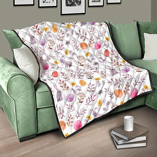 AXGM Colcha de Pascua con diseño de conejo, flores, huevos, manta para el sofá, color blanco, 150 x 200 cm