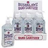 BushKlawz 70% Alcohol Hand Sanitizer Gel 10oz with Pump - No Rinse Instant Clean with No Water Needed Large Pump Bottle (12x Retail Bulk Pack)