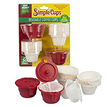 Reusable Vue Coffee Cups  Set of 2  with 50 Filters -Compatible with ALL Keurig Vue Machines V500 V600 V700 V1200 and V1255