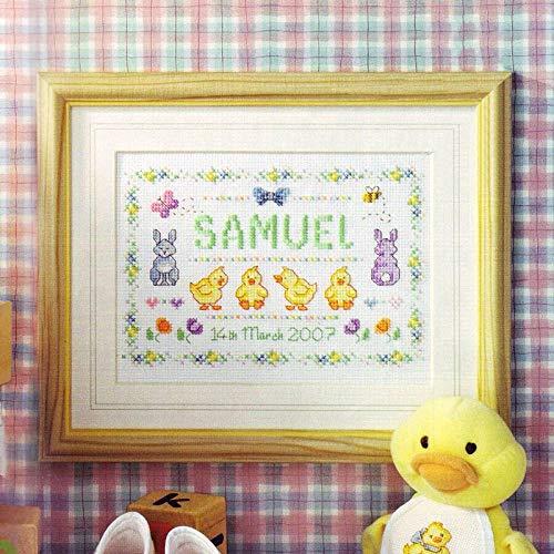 YZDMC Kits de Punto de Cruz Impresos, Registro de cumpleaños de bebé, Letras de Pato Amarillo pequeño, Kit de Bordado DIY con Patrones preimpresos Divertidos y fáciles