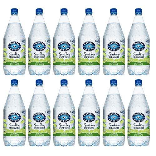 Crystal Geyser 1.25 Liter Lime Flavored Sparkling Spring Water 12 Pack, PET Plastic Bottles, No Artificial Ingredients or Sweeteners
