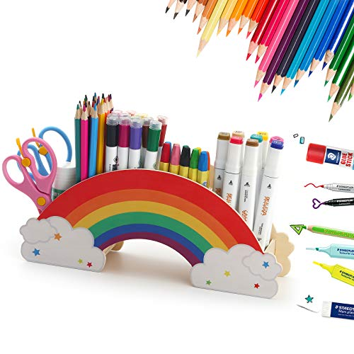 Rainbow Wooden Pen Holder, Cute 6 Compartments Pencil Holder Organizer, Art Supply Caddy Phone Holder, Desktop Stationery Pencil Crayon Organizer for Office School Home Makeup Brush Holder Organization for Kids & Adults