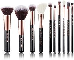 Jessup 10pz Pennelli per il trucco Fondotinta Polvere Bellezza Eyeliner Correttore Setole in fibra fatta a mano Kit per...
