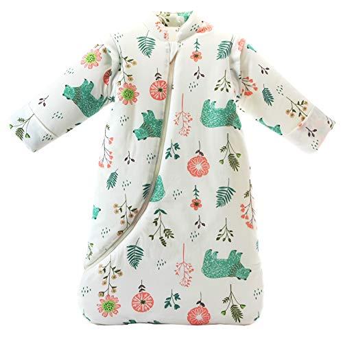 Chilsuessy Baby Schlafsack mit abnehmbaren Ärmeln Winter Angedickte, Eisbär/3.5 Tog, L/Körpergröße 85-100cm