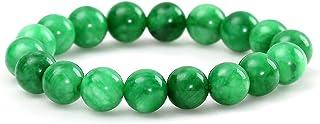 HSUMING Natural Stone Jade Bead Stretch Bracelet for Women Girls Men - Unisex Good Luck Gemstone Healing Bracelet