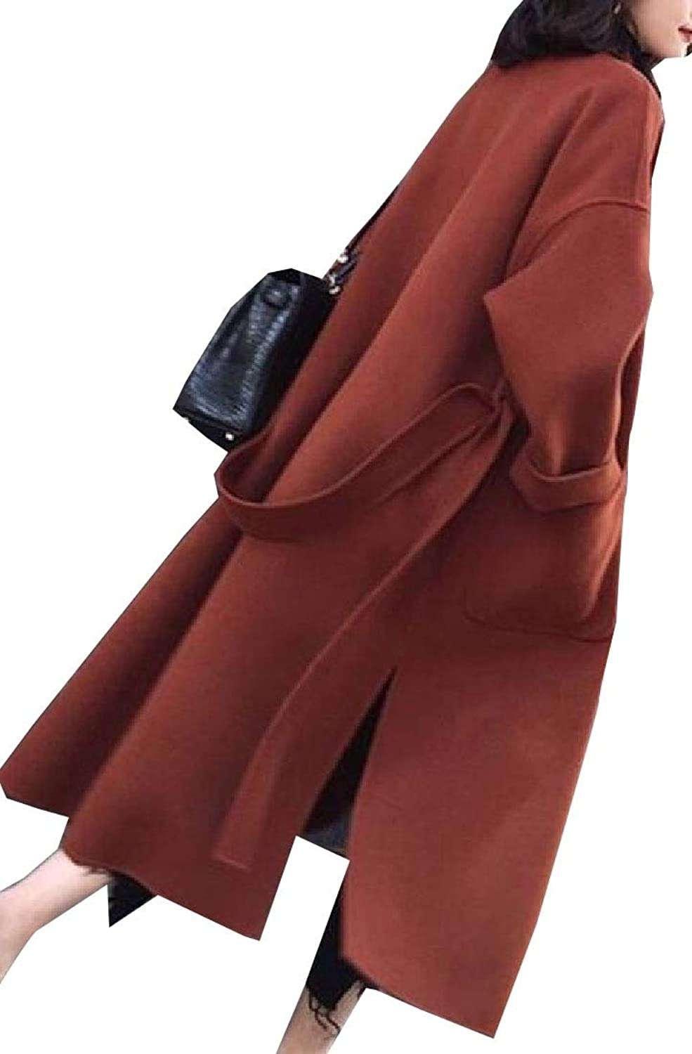 XQS Women's Trench Coat Lapel Wool Loose Fit with Belt Coat Full Length