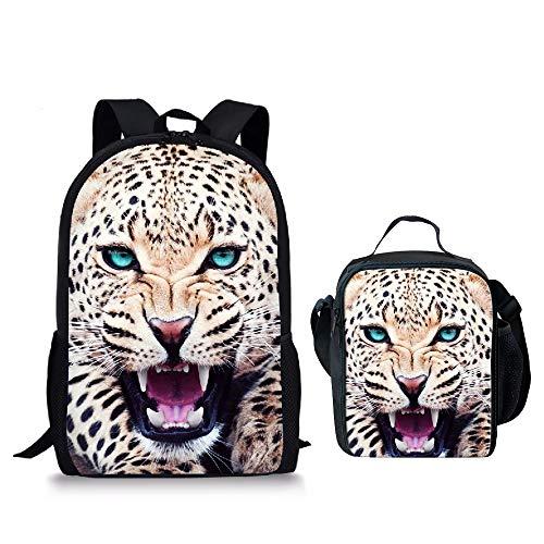 Bonita mochila con impresión de perro para niños, niñas, adolescentes, bolsa de libros escolares Multicolor Leopard-c 17,3 pulgadas