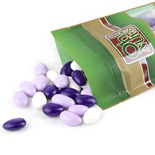 Jordan Almonds White, Purple and Lavender - Super Fine (Soft Thin Sugar Shell on A Really Large Almond) Candy Jordan Almonds Bulk - Oh! Nuts (32 oz Jordan Almonds Superfine 260 Almonds)