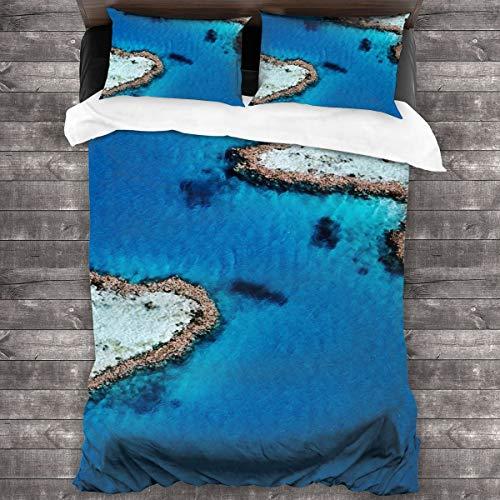 AIMILUX Funda Edredón,Fotografía de Arte de National Geographic,mar Azul e Isla en Forma de corazón,Verano,Ropa de Cama Funda Nórdica,1(240x260cm)+2(50x80cm)