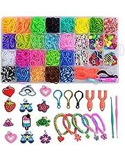 Befol Pulseras Gomas, DIY Gomas para Purseras, 2500 Comitas Elásticas Plásticas Cuantas para Collares de ColoresGoma de Juguete para Niños de Anillos y Collares de Bricolaje Manualidad