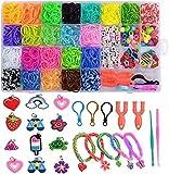 Befol Pulseras Gomas, DIY Gomas para Purseras, 2500 Comitas Elásticas Plásticas Cuantas para Collares de Colores Goma de Juguete para Niños de Anillos y Collares de Bricolaje Manualidad