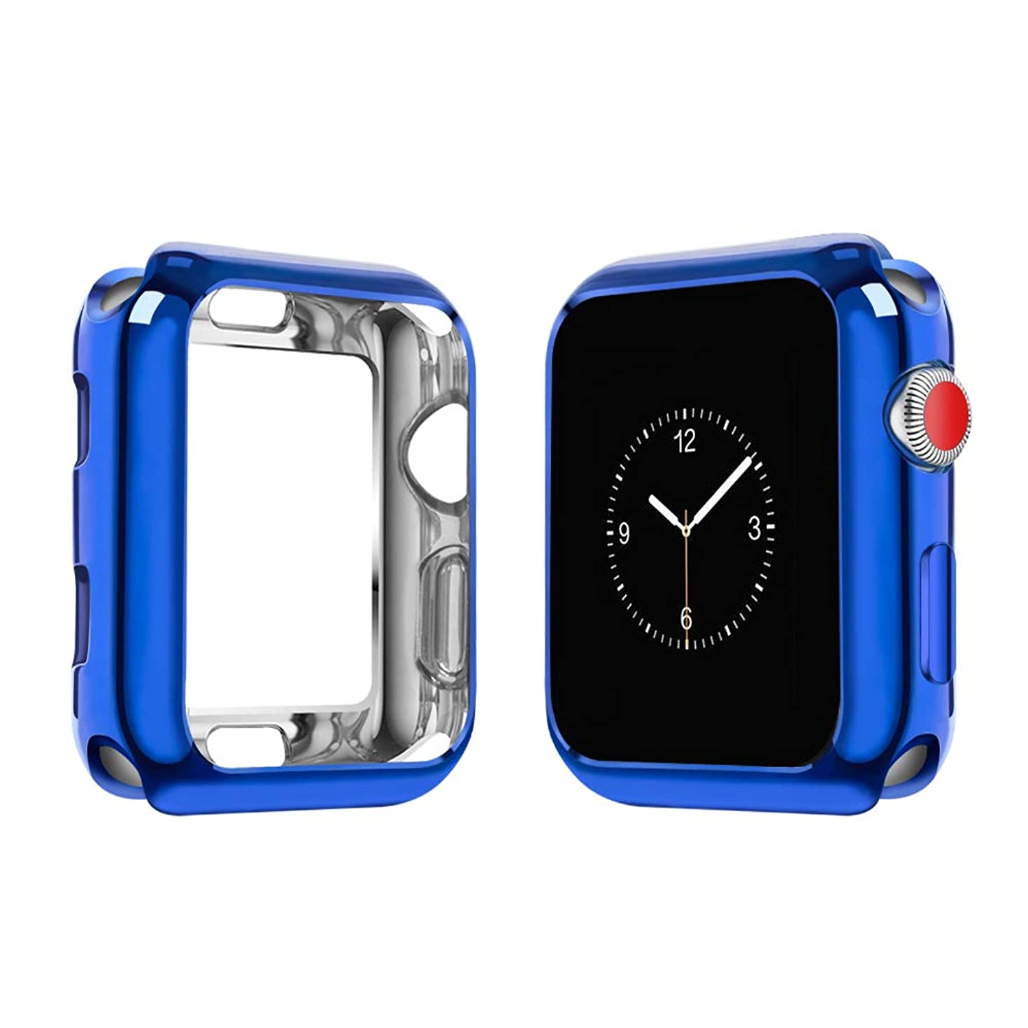top4cus Environmental Soft Flexible TPU Anti-Scratch Lightweight Protective 42mm Iwatch Case Compatible Apple Watch Series 4 Series 3 Series 2 Series 1 - Royal Blue