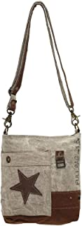 Myra Bag Leather Star Upcycled Canvas Medium Corssbody Bag M-0898
