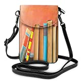 Jiger Women Small Cell Phone Purse Crossbody,Grunge Painted Backdrop Photo With Row Of Old Vintage Books On Wooden Shelf Print