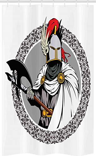 ABAKUHAUS Mittelalterlich Schmaler Duschvorhang, Ritter Heroic Rüstung, Badezimmer Deko Set aus Stoff mit Haken, 120 x 180 cm, Mehrfarbig