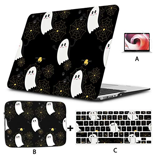 Macbook Air 13 Accessories Cool Halloween Creep Fun Ghost Macbook Pro 13 Cover Hard Shell Mac Air 11'/13' Pro 13'/15'/16' With Notebook Sleeve Bag For Macbook 2008-2020 Version
