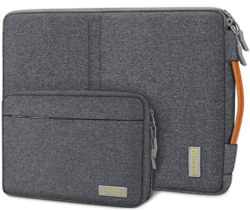 iNeseon 14-Inch Laptop Sleeve Case for 14 Inch Acer ASUS Dell HP Lenovo Huawei Notebook Chromebook Ultrabook, Protective Cover Carry Bag with Handle and Detachable Accessory Pouch, Dark Grey