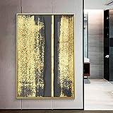 Fashion Square Burst Circle Canvas Painting Black and Gold Poster Print Sala de estar Wall Art Picture 30x40cm