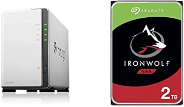 Synology 2 Bay NAS DiskStation DS220j (Diskless), 2-Bay; 512MB DDR4 & Seagate IronWolf 2TB NAS Internal Hard Drive HDD – Frustration Free Packaging (ST2000VN004)