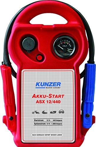 KUNZER (ASX 12/440) Akku-Start tragbar 12V 1.600/440 A – Startgerät mit austauschbarer AGM Batterie auf Blei-Säure-Basis
