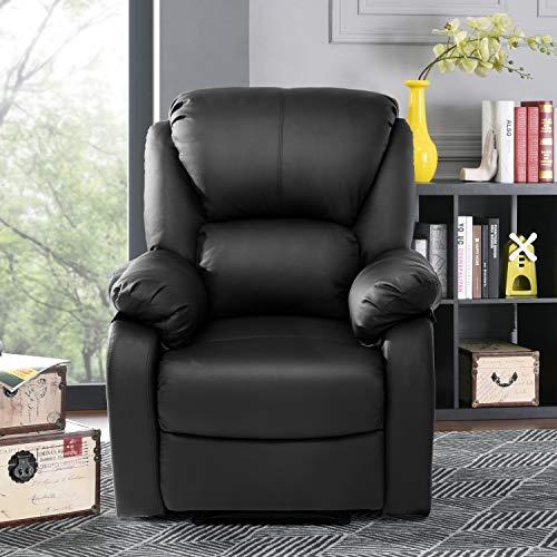 Genrics Fernsehsessel Relaxsessel Modern Luxe Leder Sofa Tilt Sofa Push Back Sessel für Home Lounge Gaming Cinema High-Back (Schwarz)