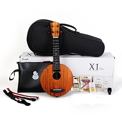 Enya EUR-X1 21inch Ukelele HPL Round Ukulele Beginner Kit with Padded Gig bag,String,Tuner,Strap,Capo,Picks,Polishing cloth (Round)