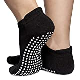 Skyba Non Slip Socks for Women - Grips for Barre, Pilates, Yoga, Hospital, Labor [Mesh Washing Bag] (Medium, 2 Pairs- Black)