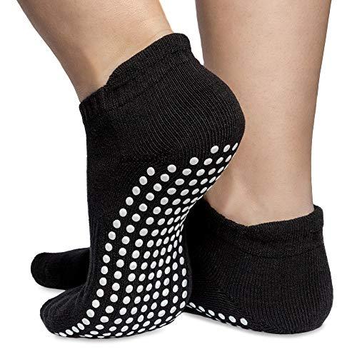 Skyba Anti Rutsch Socken Stoppersocken Noppensocken für Damen- Grips für Barre, Pilates, Yoga, Schwangerschaft, 2-paar Schwarz, 40-42 EU (Herstellergröße: L)