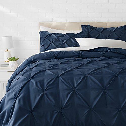 AmazonBasics Pinch Pleat Down-Alternative Comforter Bedding Set - King, Navy Blue