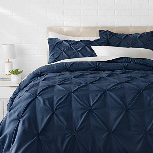 AmazonBasics Pinch Pleat Comforter Bedding Set, King, Navy Blue