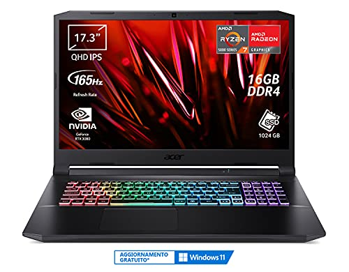 Acer Nitro 5 AN517-41-R3SG PC Gaming Portatile, Processore AMD Ryzen 7 5800H, Ram 16 GB DDR4, 1024 GB PCIe NVMe SSD, Display 17.3  QHD IPS 165 Hz LED LCD, NVIDIA GeForce RTX 3080 8 GB, Windows 10 Home