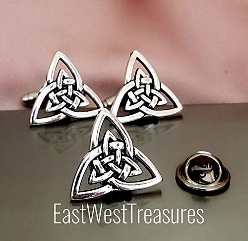 Celtic Trinity Knot cufflinks cuff links Lapel Tie Pin brooch Set for men-Irish Triquetra acessory gift for men