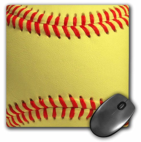 3dRose LLC 8 x 8 x 0.25 Inches Mouse Pad, Softball Close Up Photography Print Yellow and Red Soft Ball for Sporty Sport Fans Team Players (mp_120271_1)