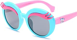 ZMP Children's Sunglasses Sunscreen Polarized Sunglasses Dazzle Color Prevents Ultraviolet Ray Sunglass Silicone Glasses (Color : Blue Frame Pink Leg)