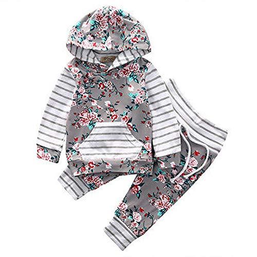 Hailouhai Herbst Winter Neugeborenen Baby Mädchen Nette Mit Kapuze Langarm Sweatshirt Outfits + Print Hose Stirnband Kleidung 2 Stücke Set (6-12 Monate, Grau)