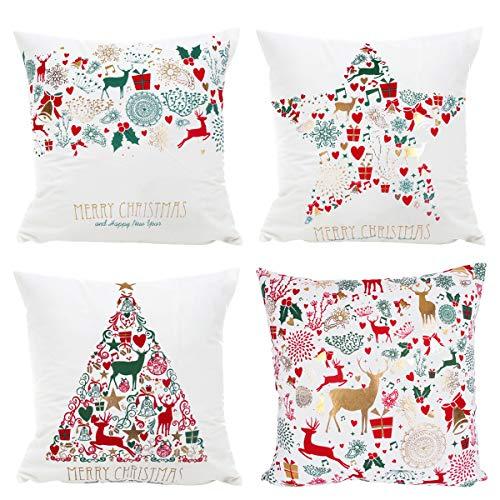 Fundas de cojín de Feliz Navidad - 4 Piezas de Fundas de cojín de Navidad con Color Blanco y Ciervos de Navidad para sofá, Dormitorio, decoración del hogar