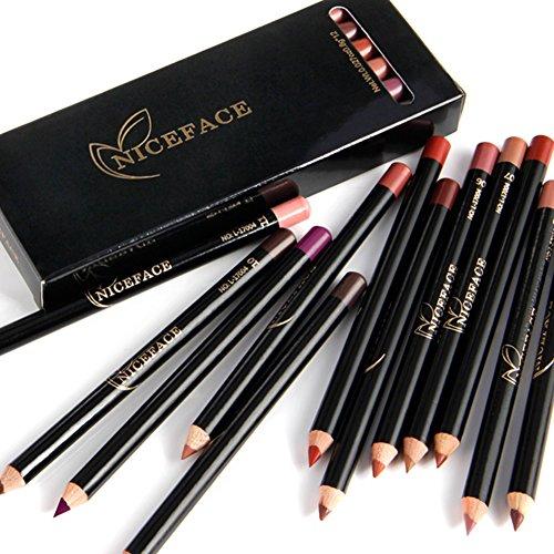 12 pièces/ensemble stylo crayon à lèvres, stylo rouge à lèvres professionnel imperméable à l'eau longue durée crayon crayon à lèvres crayon maquillage cosmétique