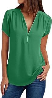 Women Short Sleeve Casual Tops Shirt ❀ Ladies V Neck Zipper Loose T-shirt Blouse Solid Fashion Tee Tunic Tops