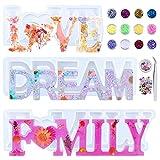 Molde Silicona Resina Kit, 3 Moldes de Resina 3D LOVE/DREAM/FAMILY, Kit de Resina Epoxi para Decoraciones de Mesa, Bodas, San Valentín, DIY Manualidad
