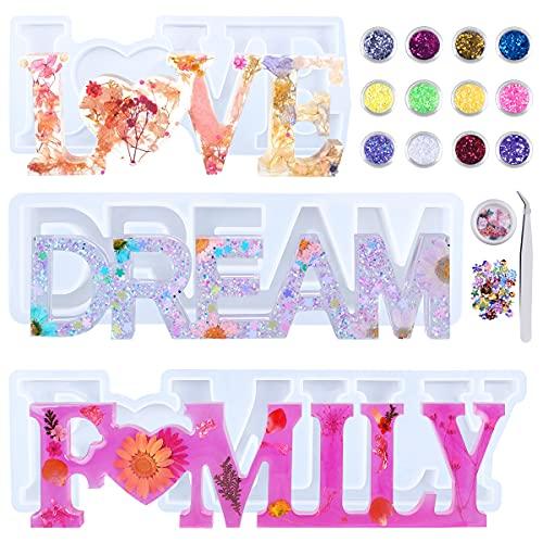 Moldes de Resina, LOVE/DREAM/FAMILY 3D Molde Silicona Resina kit, para Decoraciones de Mesa, Bodas, San Valentín, DIY Manualidad